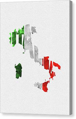 Dirty Canvas Print - Italy Typographic Map Flag by Inspirowl Design