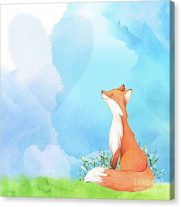 It's All Love Fox Love Canvas Print by Tina Lavoie