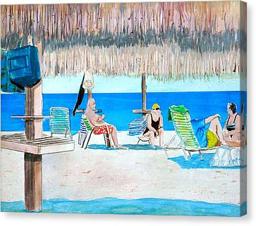 Canvas Print featuring the painting It's Always Sunny In Aruba by Anthony Ross