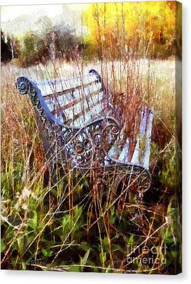 It's Been Awhile - Park Bench Canvas Print by Janine Riley