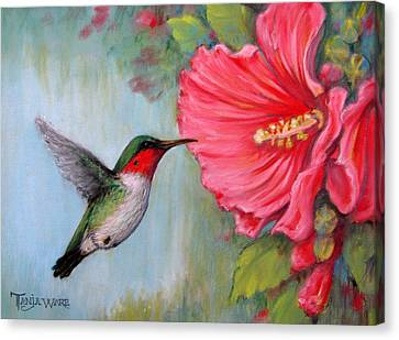 Humming Birds Canvas Print - It's Hummer Time by Tanja Ware