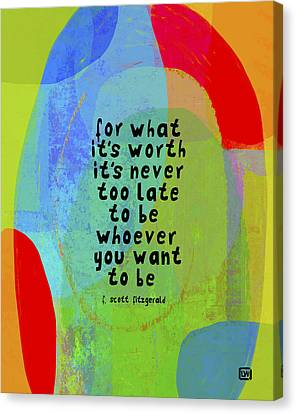 Canvas Print featuring the mixed media It's Never Too Late by Lisa Weedn
