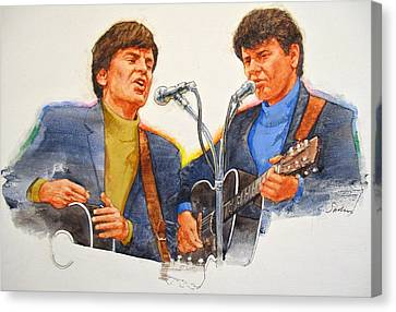 Canvas Print featuring the painting Its Rock And Roll 4  - Everly Brothers by Cliff Spohn