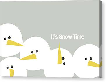 It's Snow Time Snow Heads- Art By Linda Woods Canvas Print by Linda Woods