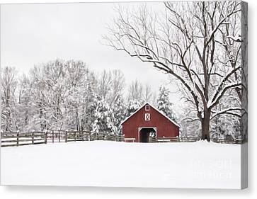 Red Barn In Snow Canvas Print - It's Snow Mesmerizing by Benanne Stiens