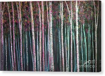 I'ts Twilight Birches Canvas Print by Heather McKenzie