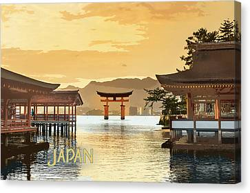 Miyajima Canvas Print - Itsukushima Shrine Miyajima Hiroshima Japan Text Japan by Elaine Plesser