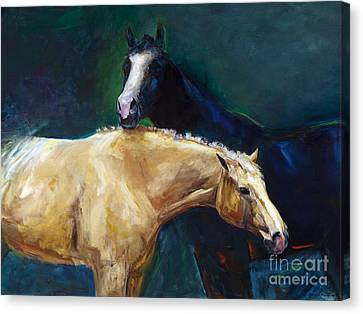 Abstract Equine Canvas Print - I've Got Your Back by Frances Marino
