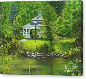 Ives Park Gazebo Canvas Print by Judy Filarecki