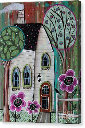 Primitive Art Canvas Print - Ivory Cottage by Karla Gerard