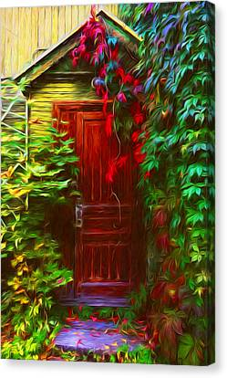 Ivy Surrounded Old Outhouse Canvas Print