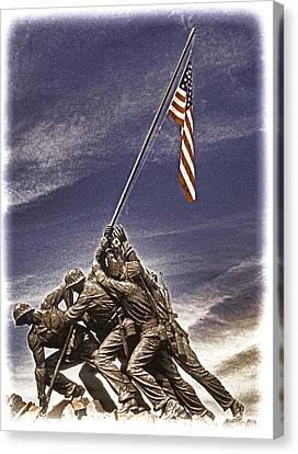 Iwo Jima Flag Raising Canvas Print by Dennis Cox