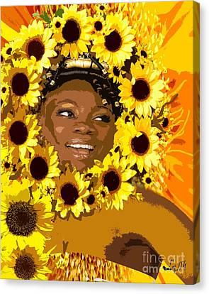 Iyalorde Girasoles Canvas Print by Liz Loz