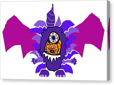 Izzy Purple People Eater Costume Canvas Print by Jera Sky