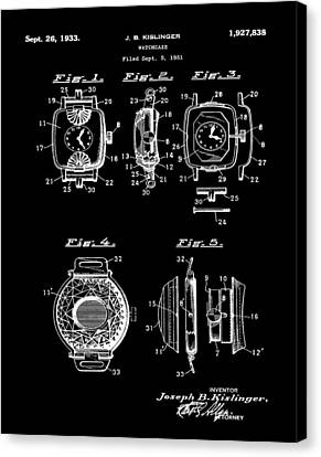 J B Kislinger Watch Patent 1933 Black Canvas Print by Bill Cannon