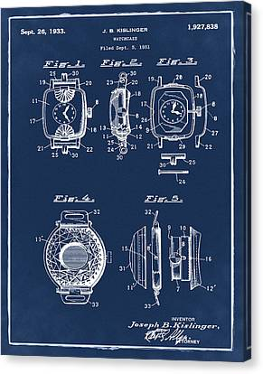 J B Kislinger Watch Patent 1933 Blue Canvas Print by Bill Cannon