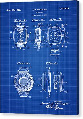 J B Kislinger Watch Patent 1933 Blue Print Canvas Print by Bill Cannon