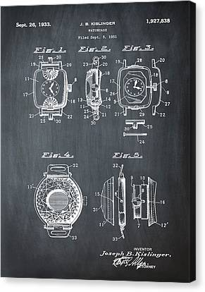 J B Kislinger Watch Patent 1933 Chalk Canvas Print by Bill Cannon