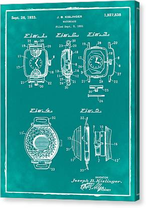 J B Kislinger Watch Patent 1933 Green Canvas Print by Bill Cannon