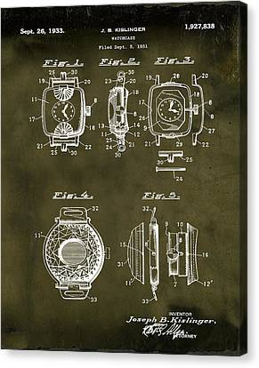 J B Kislinger Watch Patent 1933 Grunge Canvas Print by Bill Cannon
