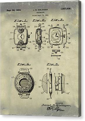 J B Kislinger Watch Patent 1933 Weathered Canvas Print by Bill Cannon
