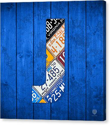J License Plate Letter Art Blue Background Canvas Print by Design Turnpike