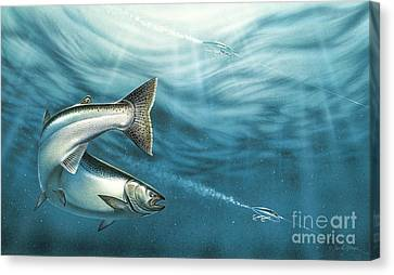 J-pluggin Salmon Canvas Print
