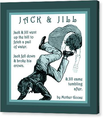 Jack And Jill Vintage Mother Goose Nursery Rhyme Canvas Print by Marian Cates