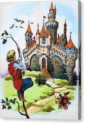 Jack And The Beanstalk Canvas Print by English School