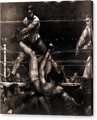 Jack Dempsey Knocked Out Of The Ring Canvas Print by Everett
