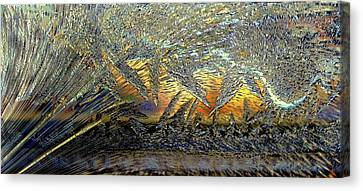 Canvas Print featuring the photograph Jack Frost Paintin On My Window by Irma BACKELANT GALLERIES