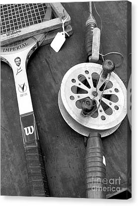 Jack Kramer Wood Racket And Ancient Rod And Reel Canvas Print by David Bearden