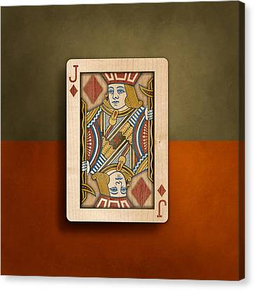 Jack Of Diamonds In Wood Canvas Print