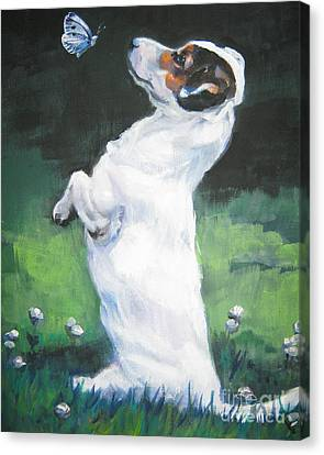 Jack Russell Terrier With Butterfly Canvas Print by Lee Ann Shepard