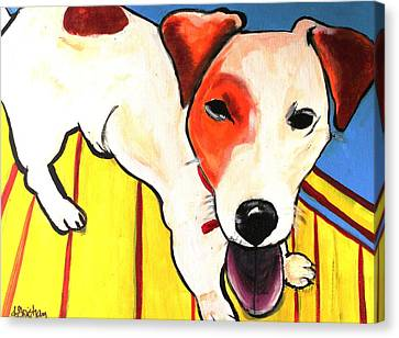Canvas Print featuring the painting Jack Russell Terrior- Peanut by Laura  Grisham