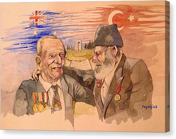 Canvas Print featuring the painting Jack Ryan And Hyseyin Kacmaz by Ray Agius