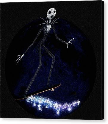 Jack Skellington Rolls The Moon Canvas Print by Yoselem Veganmaniac