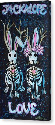 Canvas Print featuring the painting Jackalope Love by Laurie Maves ART