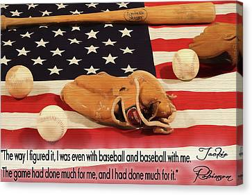 Jackie Robinson Baseball Quote Canvas Print by Dan Sproul