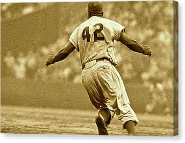 Jackie Robinson, Number 42, Brooklyn Dodgers Canvas Print by Thomas Pollart