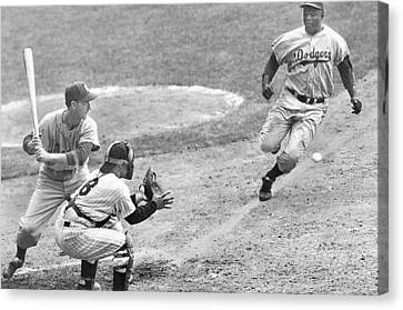 Jackie Robinson Stealing Home Yogi Berra Catcher In 1st Game 1955 World Series Canvas Print by David Lee Guss