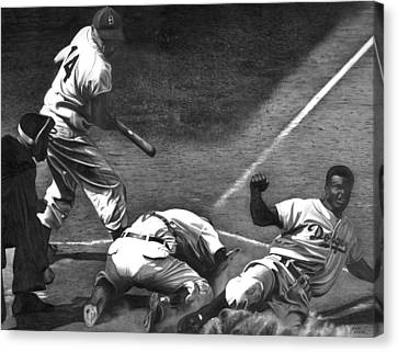 Brooklyn Dodgers Canvas Print - Jackie Steals Home by Jerry Winick