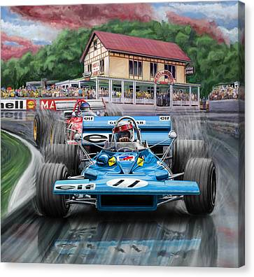 Jackie Stewart At Spa In The Rain Canvas Print by David Kyte