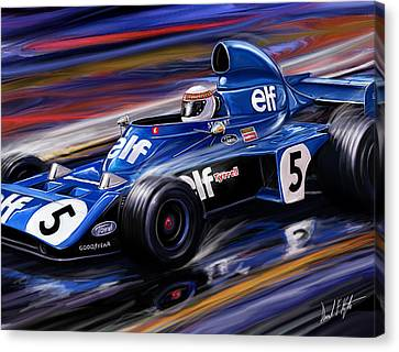 Jackie Stewart In The Rain Canvas Print by David Kyte