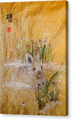 Canvas Print featuring the painting Jackies New Year Rabbit by Debbi Saccomanno Chan