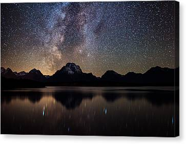 Jackson Lake Milky Way Canvas Print by Darren White