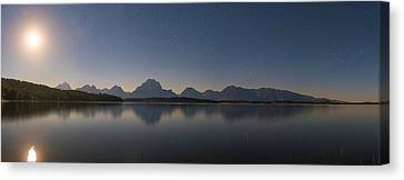 Jackson Lake Moon Canvas Print by Darren White
