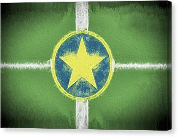 Canvas Print featuring the digital art Jackson Mississippi Flag by JC Findley