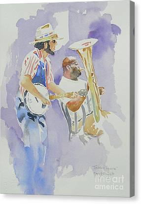 Canvas Print featuring the painting Jackson Square by Mary Haley-Rocks