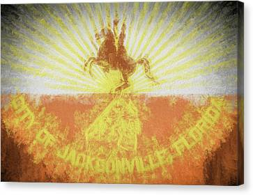 Canvas Print featuring the digital art Jacksonville City Flag by JC Findley